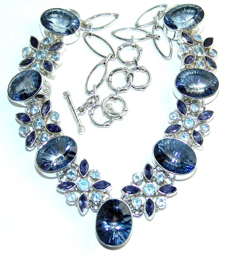 300cttw Blue Mystic and Blue topaz necklace